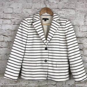 Ann Taylor Button Blazer Jacket Striped